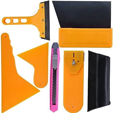Hikenn 7pcs Autofenster Folien Werkzeug Rakel Set Tönungsfolie Sonnenschutz Folie Montage Abziehen Werkzeug Auto
