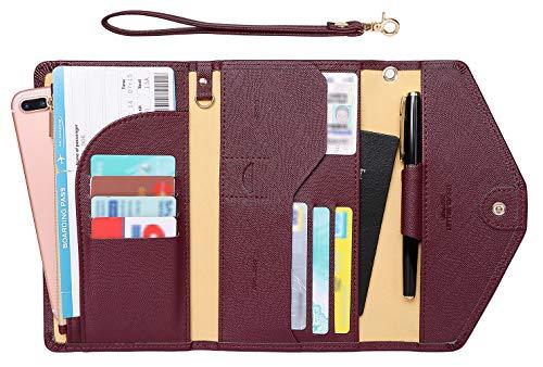 Zoppen Passport Holder Travel Wallet (Ver.5) for Women Rfid Blocking Multi-purpose Passport Cover Document Organizer Strap, Wine - Wallet Passport Fold