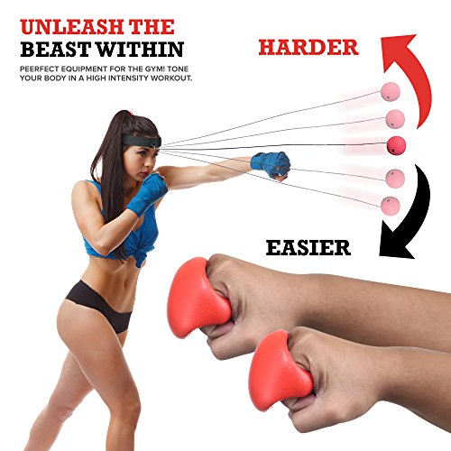 Boxing Reflex Ball - Boxing Equipment, Adjustable Head Band, Gloves, Extra String, Instruction and Repair Guide Included - Perfect For Reflex/Speed Training Improve Reactions for Kids Aswell by Punch King (Image #4)