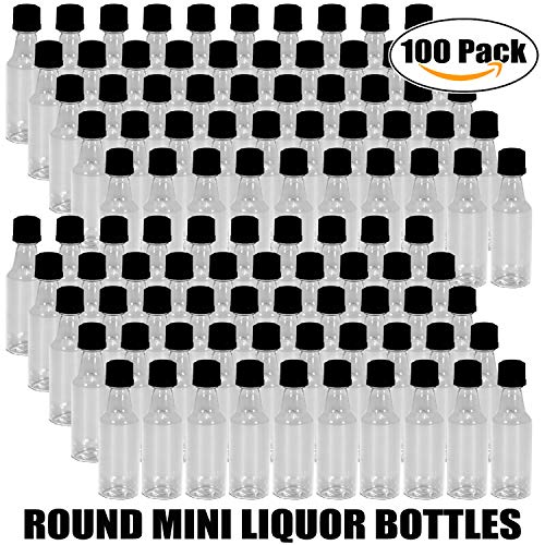 100 Mini ROUND Plastic Alcohol 50ml Liquor Bottle Shots + Caps (100 Bulk) for party favors in Weddings, Anniversary, Events, holds BBQ Sauce Samples, Essential Oils, etc. Proudly Made in the USA! by Party Over Here (Image #3)