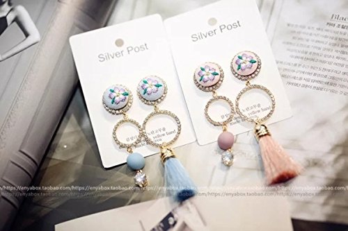 The new fashion personality embroidered flowers asymmetrical earrings long section of the tassel diamond circle pendant earrings earrings female