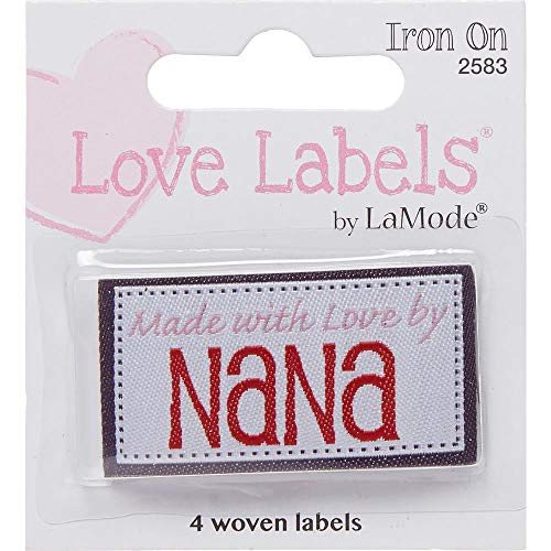 Blumenthal Lansing Iron-On Lovelabels 4-Pack: Made With Love By Nana, 1.75