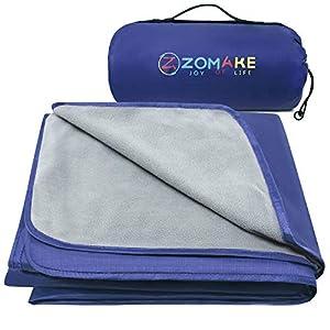 ZOMAKE Warme Fleece-Outdoor-Decke wasserdichte Leichte Campingdecke für das Winterpicknick (Hellgrau und Dunkelblau)