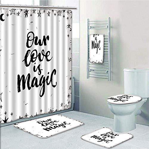Bathroom 5 Piece Set Shower Curtain 3D Print,Magical,Our Love is Magic Quote Frame Print Surrounded by Star Figure Romance Graphic,Black White,Bath Mat,Bathroom Carpet Rug,Non-Slip,Bath Towls