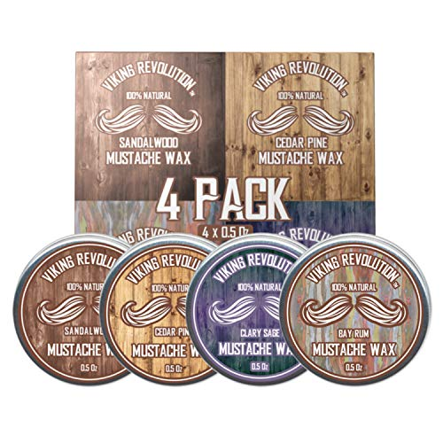 Mustache Wax 4 Variety Pack – Beard & Moustache Wax for Men – Strong Hold Helps Train Tame & Style- Sandalwood, Clary Sage, Cedar Pine, Bay Rum Styles