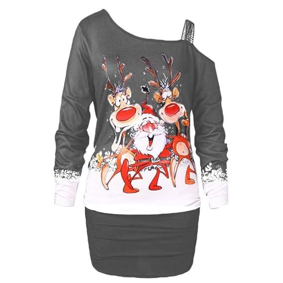 mnoMINI Vestido de Navidad, Disfraz de Navidad para Mujer, Manga ...