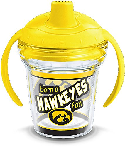 Tervis 1292131 NCAA Iowa Hawkeyes Born a Fan Sippy Cup with Lid, 6 oz, Clear
