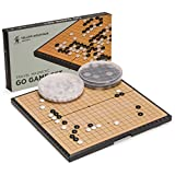 Yellow Mountain Imports Magnetic Go Game Set with Single Convex Magnetic Plastic Stones and Go Board, 11.3 x 11.2 Inches