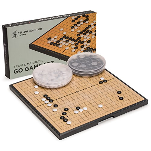 Stones Convex Game Go - Yellow Mountain Imports Magnetic Go Game Set with Single Convex Magnetic Plastic Stones and Go Board, 11.3 x 11.2 Inches