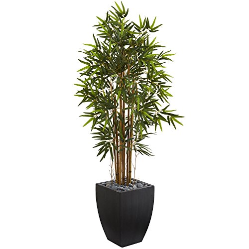 Black Bamboo Tree - Nearly Natural 5' Bamboo Artificial Tree in Black Wash Planter, Green