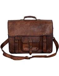 KPL 18 Inch Vintage Mens Brown Handmade Leather Briefcase Best Laptop Messenger Bag Satchel