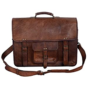 KPL 18 Inch Vintage Men's Brown Handmade Leather Briefcase Best Laptop Messenger Bag Satchel