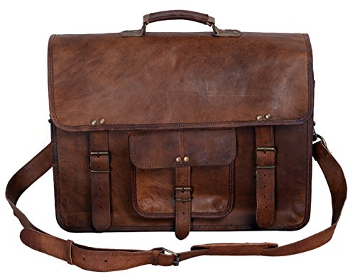 (KPL 18 Inch Vintage Men's Brown Handmade Leather Briefcase Best Laptop Messenger Bag Satchel)