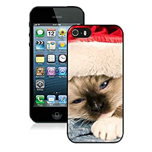 Custom-ized Phone Case Iphone 5S Protective Cover Case Christmas Cat iPhone 5 5S TPU Case 23 Black