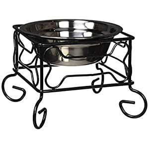 YML 5-Inch Wrought Iron Stand with Single Stainless Steel Feeder Bowl 26