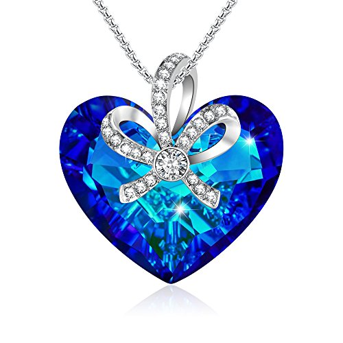 GEORGE · SMITH Elegant Queen Crown Pendant Blue Heart Necklace Crystals from Swarovski Heart of Ocean Jewelry for Women Christmas Day Gifts