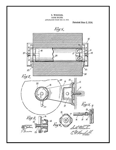 Toilet Paper Holder Patent Print Art Poster Black Ink on Whi