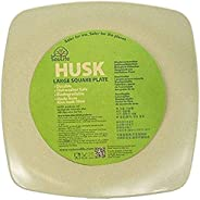 """EcoSoulife EHU13127NT 10"""" Large Rice Husk Square Plate-Biodegradable and Reusable Na"""