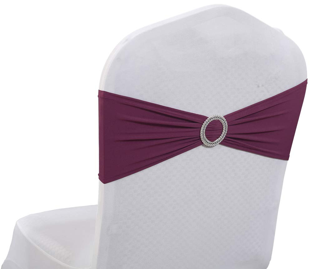 mds Pack of 1 Spandex Chair Sashes Bow sash Elastic Chair Bands Ties with Buckle for Wedding and Events Decoration Lycra Slider Sashes Bow Apple Red