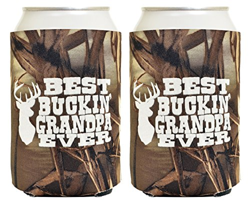 Funny Beer Coolie Best Buckin Grandpa Fathers Day Gift for Grandpa 2 Pack Can Drink Coolers Coolies Drink Coolers Real Tree Max 4