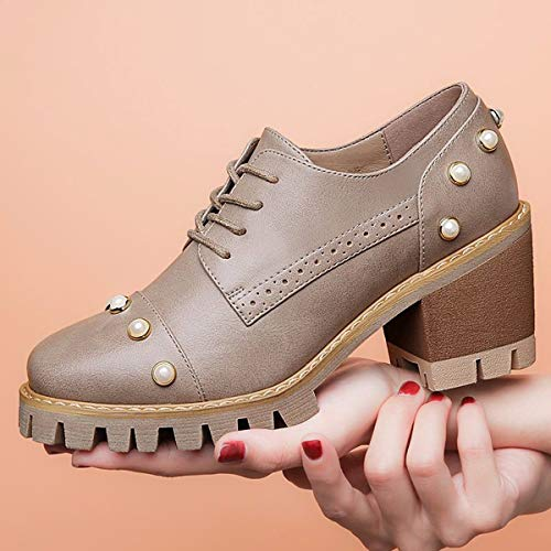 Head Retro Small Day Female College Leather With SFSYDDY grey 35 Girl Port Trend Rough Autumn Shoes Lovely Early Tie Soft Breeze Round qw575B8Z