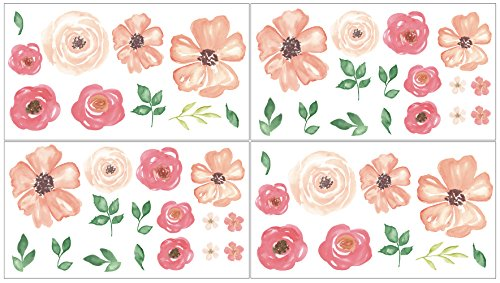 - Sweet Jojo Designs Peach, Green and White Wall Decal Stickers for Peach Watercolor Floral Collection - Set of 4 Sheets - Pink Rose Flower