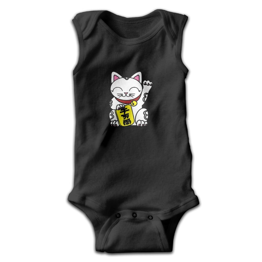 Japanese Beckoning Welcoming Lucky Cat Sleeveless Bodysuits Rompers Outfits