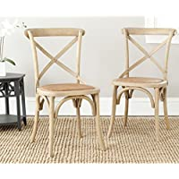 Safavieh American Homes Collection Franklin Farmhouse X-Back Natural Side Chair (Set of 2)