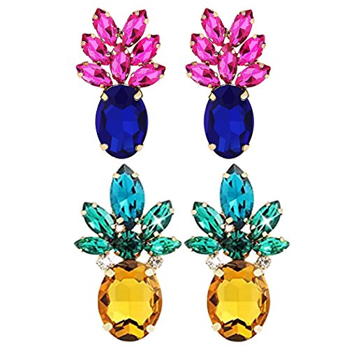 (Sparkling Yellow Emerald Crystal Vintage Trendy Fruit Pineapple Earrings Stud Necklace Jewelry Sets For Women Girls (pineapple earring) (2PAIR BLUE YELLOW)