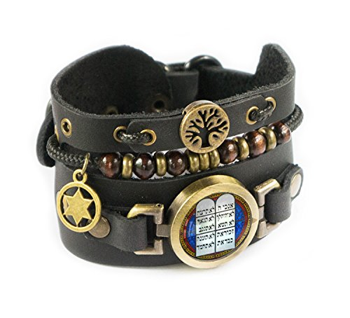 Lost Tribe Designs Leather bracelet with Tree of Life, Star of David and Ten Commandments