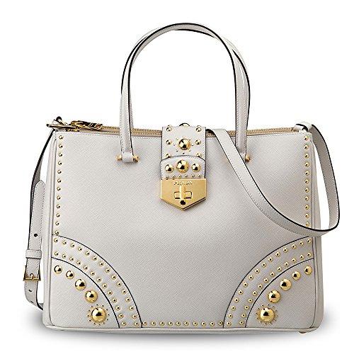 Prada Leather Saffiano Metal Studs Handbag Made in Italy