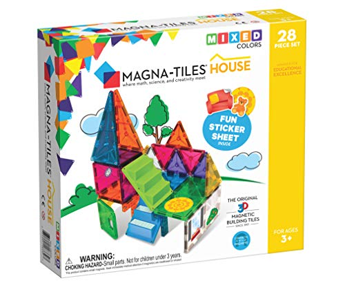 Magna-Tiles 28Piece House Set, The Original, Award-Winning Magnetic Building Creativity & Educational, Stem Approved, Solid & Clear Colors (Pack of 28) ()