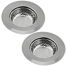 "2PCS Stainless Steel Kitchen Sink Strainer Large Wide Rim 4.5"" Diameter Garbage Disposal Kitchen Drain Strainer Basket"