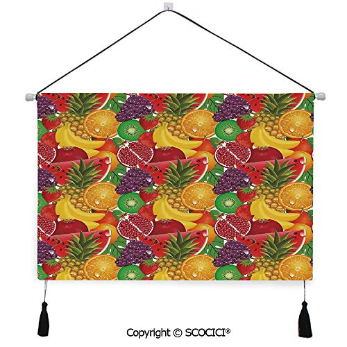 SCOCICI Durable Material Multipurpose W24xL17inch Wall Hanging Tapestry Exotic Tropical Fresh Ripe Juicy Fruits Pine Berries Watermelon Grape Orange Decorative Painting Living Room Painting Fabric Ba