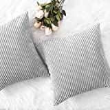 HOME BRILLIANT Thanksgiving Decor Throw Pillows Striped Velvet Cushion Cover for Chair Decorative Pillowcase, Set of 2, Light Grey, 18''x18''(45cm)