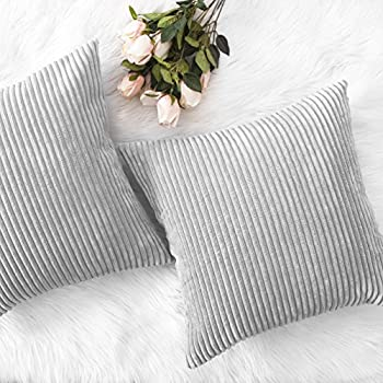 "Home Brilliant Thanksgiving Decor Throw Pillows Striped Velvet Cushion Cover for Chair Decorative Pillowcase, Set of 2, Light Grey, 18""x18""(45cm)"