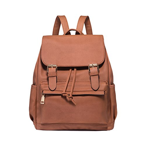 Tisdaini Mujer mochilas Moda PU piel viaje mochila casual bolso bandolera escolar Dama bolsa Marrón