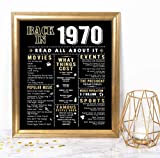 Katie Doodle 50th Birthday Decorations Gifts for Women or Men | Includes 8x10 Back in 1970 Print [Unframed], BD050, Black/Gold