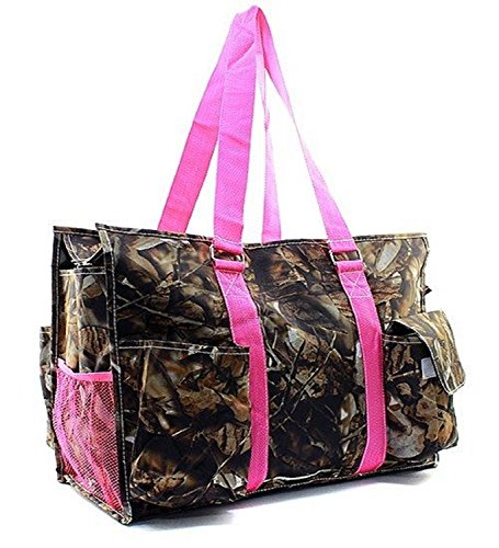 Camouflage-Canvas-Multipurpose-Utility-Tote-Bag-Shopping-Travel-Pink