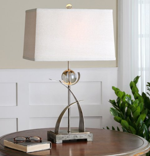 - Uttermost Cortlandt Curved Metal Table Lamp with Thick Curved Metal Finish In Antiqued Silver Accent