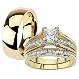 Her & His 14K G.P. Stainless Steel 3pc Wedding Engagement Ring & Men's Band Set Women's Size 09 Men's 04mm Size 10