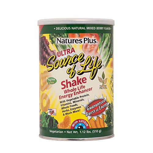 Natures Plus Ultra Energy Shake - Natures Plus Ultra Source of Life with Lutein Shake - Natural Mixed Berry Flavor - 1.2 lb - Multivitamin, Mineral & Protein Powder - Vegetarian, Gluten Free - 15 Servings