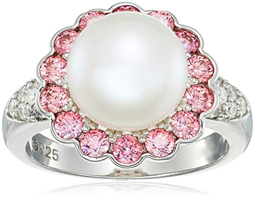 Platinum Plated Sterling Silver Freshwater Pearl Flower with Fancy Pink Swarovski Zirconia Accents Ring, Size 6