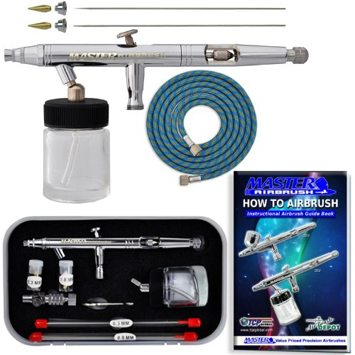 -SET Master S62 All-Purpose Precision Dual-Action Siphon Feed Airbrush Pro Set with 3 Nozzle Sets (Siphon Feed Airbrush Set)