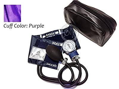 EMI PURPLE Pediatric Aneroid Sphygmomanometer Blood Pressure Monitor with CHILD Sized Cuff and Carrying Case EBC-215