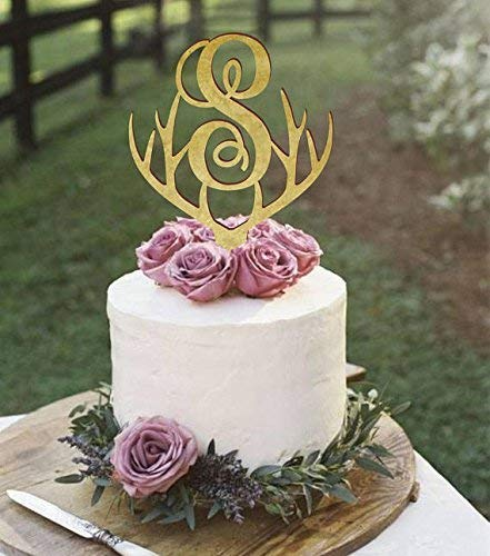(Monogram cake topper, deer antlers cake topper with single monogram letter, wedding cake topper, antlers cake decor, personalized topper)