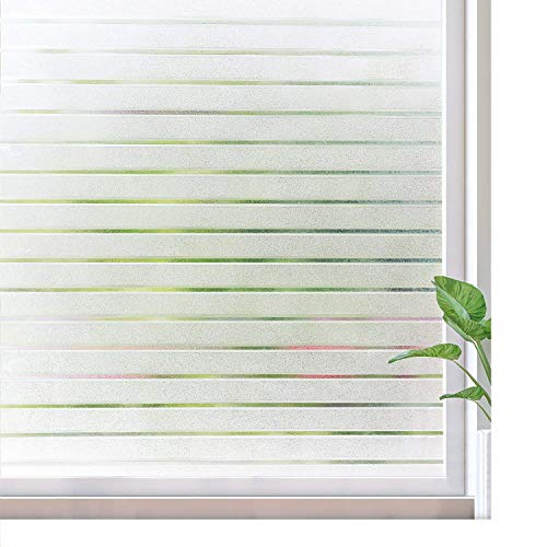 Rabbitgoo Window Film Static Cling Frosted Window Film No Glue Window Sticker UV Protection for Home Office Living Room, 17.5 x 59 inches