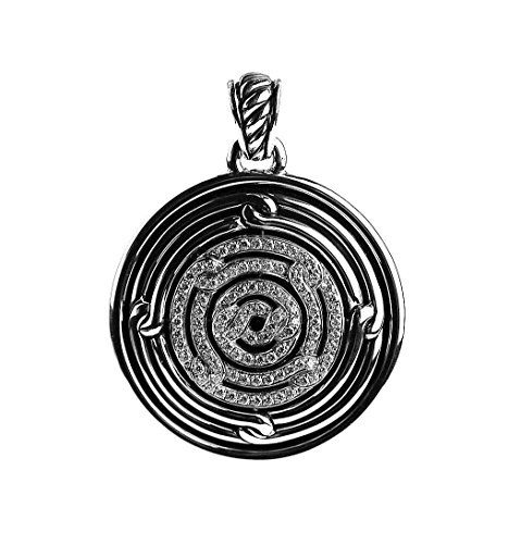 David Diamond Disc Pendant (DAVID YURMAN AMAZING STERLING SILVER ROUND LABYRINTH PENDANT DIAMONDS 1 CTW # 2P)
