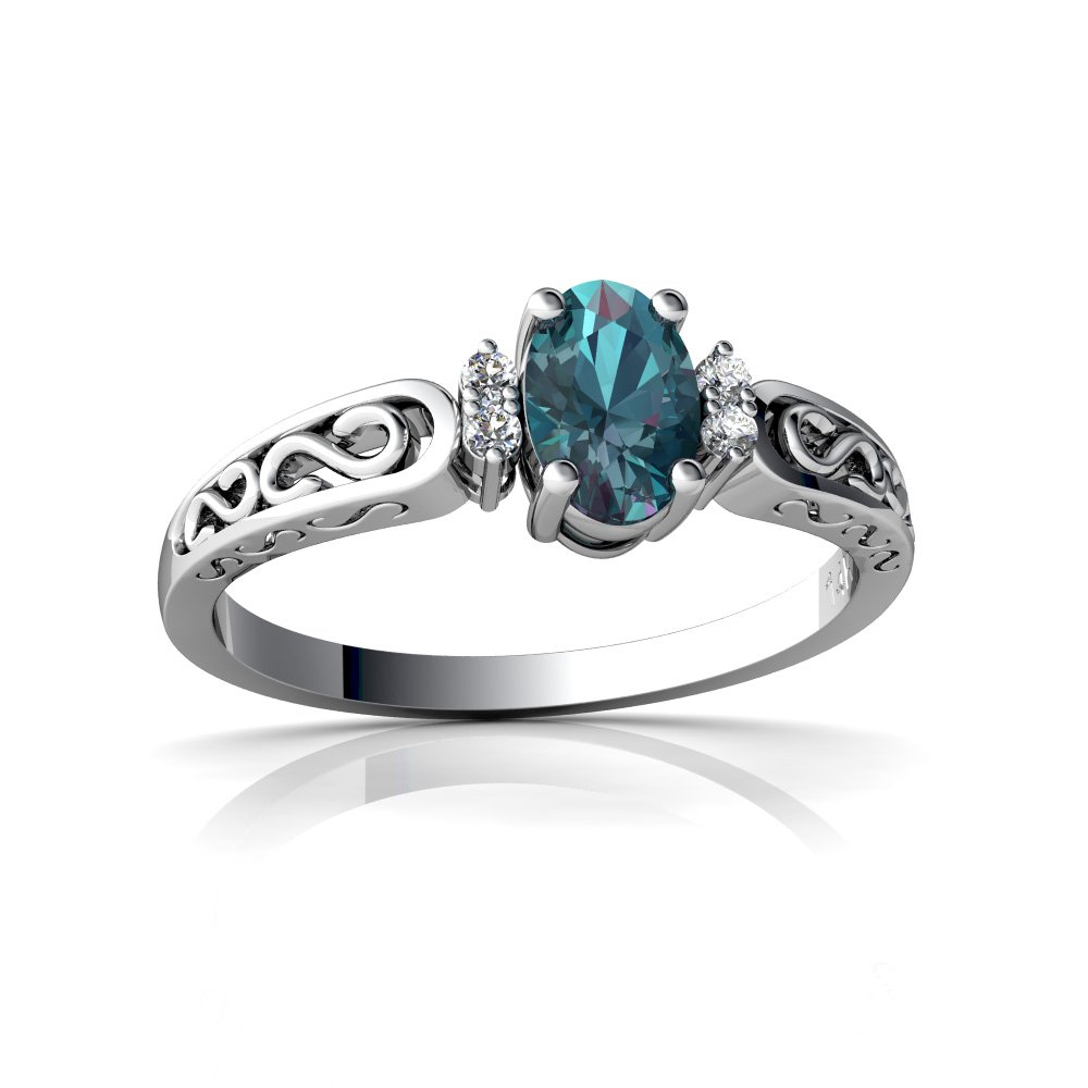 14kt White Gold Lab Alexandrite and Diamond 6x4mm Oval filligree Scroll Ring - Size 6