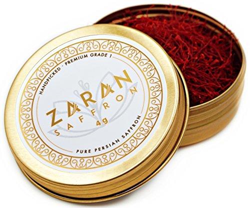 Zaran Saffron, (4 grams) Premium, All-Red Saffron (Highest Quality Saffron for your Tea, Paella, Risotto, and Persian Rice) Category 1, Super Negin - Saffron Threads (Saffron Threads)